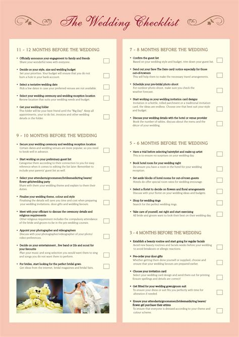 Wedding Checklist For by The Importance Of Printable Wedding Planning Checklist