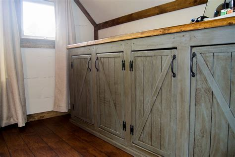 scrapped  sliding barn doors rustic cabinet doors