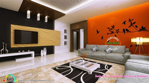 living room sitting and bedroom interiors kerala