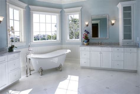 best blue for bathroom soft sky blue walls float above the white cabinetry and marble