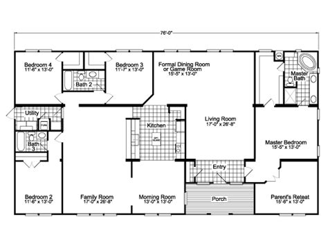 triple wide manufactured home floor plans the gotham triple wide home 2952 sq ft manufactured home