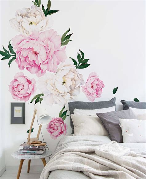 wall flower stickers peony flowers wall sticker watercolor peony wall stickers peel and stick removable stickers