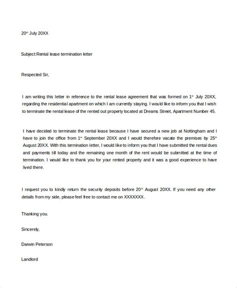 Cancellation Letter For Rental Agreement 53 Termination Letter Exles