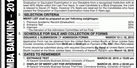 Mba After Bank by Of Karachi Uok Mba Banking Admission 2018