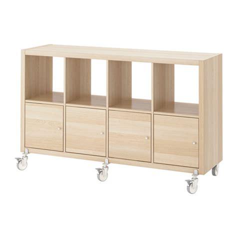 ikea shelving units with doors kallax shelving unit 4 doors castors white stained oak