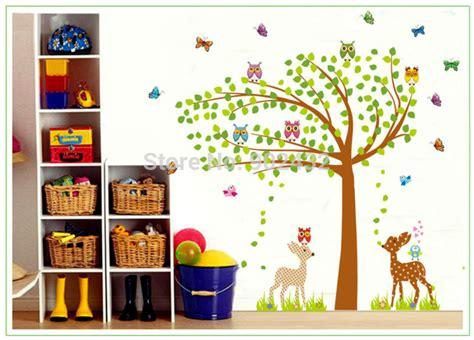 Deer Ii Sk9003 Stiker Dinding Wallsticker burung hantu rusa pohon raksasa stiker dinding untuk bayi kamar anak anak dekorasi rumah decals