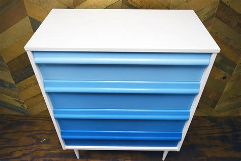 shades of blue ombre chest of drawers dresser changing mid century ombre dresser refresh