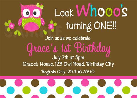printable owl party invitations printable 1st birthday invitations girls owl party
