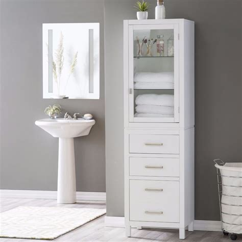 Bathroom Linen Storage Linen Cabinet For Bathroom Glass Shelf Drawer Bath Towel Storage White Ebay