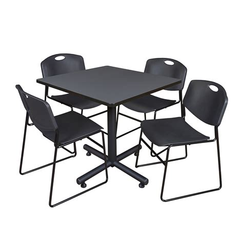 breakroom tables and chairs 36 quot square breakroom table grey 4 zeng stack