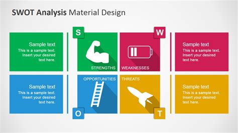 Swot Analysis Powerpoint Template With Material Design Swot Powerpoint Template Free