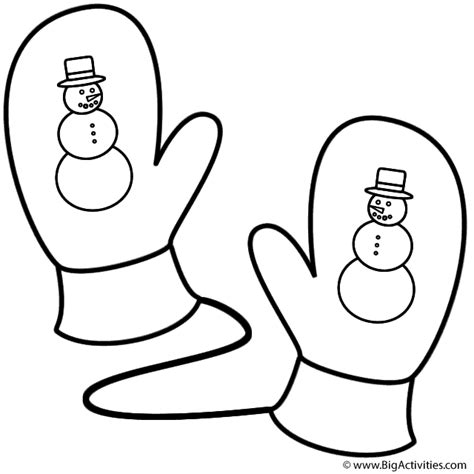 Mittens With Snowman Coloring Page Christmas Printable Mitten Coloring Page