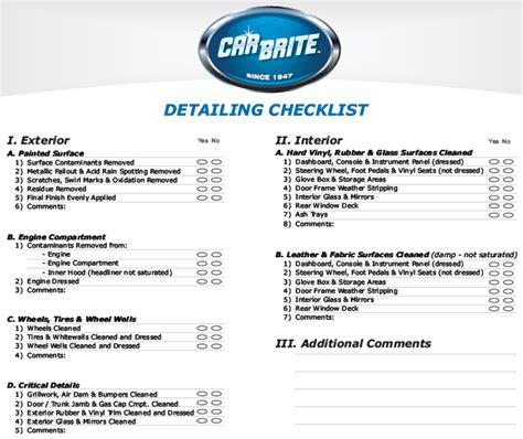 Auto Detailing Checklist Car Brite Car Detailing Price List Template
