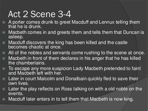 act 2 scene 3 4 by dina outline of macbeth act 1 to act 3