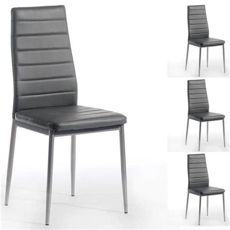 chaise simili cuir gris lot de 4 chaises nathalie simili cuir gris achat