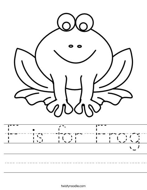 frog coloring worksheet f is for frog worksheet twisty noodle