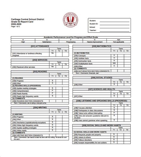 progress report card templates 21 free printable word