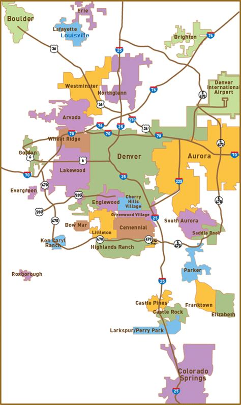 map of colorado cities near denver relocation map for denver suburbs click on the best suburbs