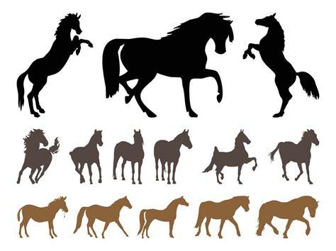 vector horse tutorial horses silhouette set