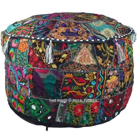 indian pouf ottoman 22x12 quot black indian vintage handmade round floor pouf