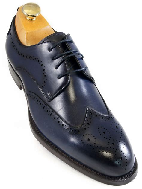 steve madden mens navy blue leather wing tip dress casual