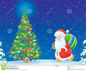 For christmas card santa claus with gifts walks to christmas tree