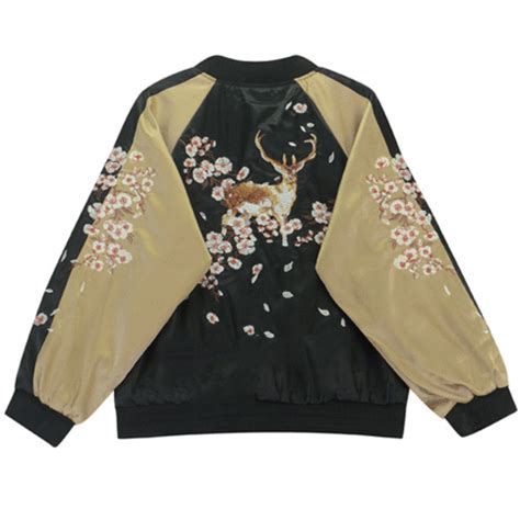 Deer Bomber Jacket 2 Warna deer embroidery bomber jacket m l on storenvy