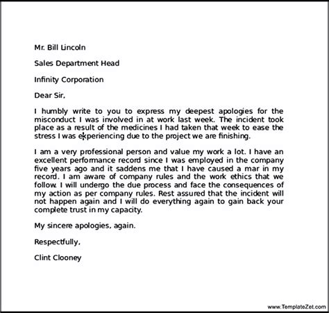 Apology Letter Sle For Mistake Apology Letter For Mistake At Work Templatezet