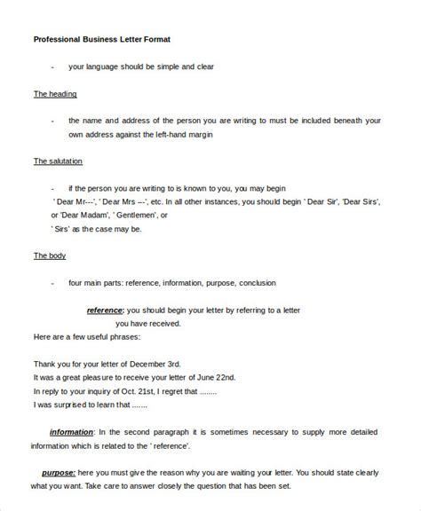 business letters professional professional letter format 22 free word pdf documents