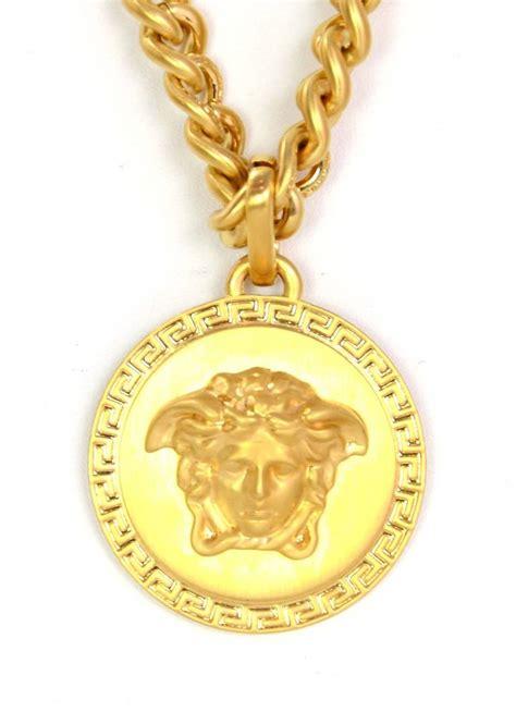 versace new goldtone chain necklace w medussa