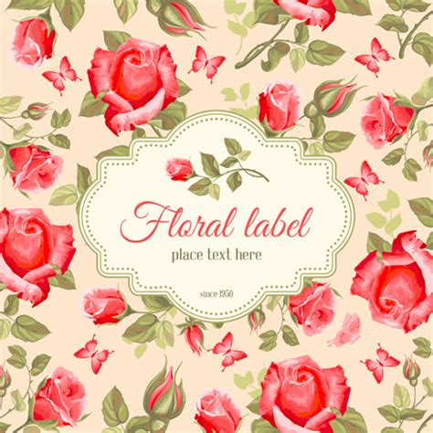 retro flower with vintage background vector 06 vector
