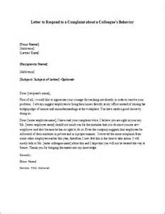 Complaint Letter Against Employee Behavior Colleague S Behavior Complaint Respond Letter Writeletter2