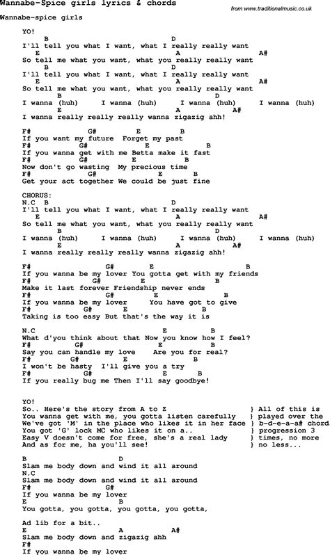 Lyrics Spice Girl Wannabe | love song lyrics for wannabe spice girls with chords