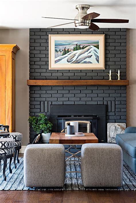 painted brick fireplace  wood mantle  focal point