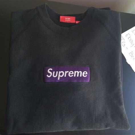 Supreme Purple Box Logo Built Up T Shirt Quality 1 1 supreme 2005 purple on black box logo crewneck from s closet on poshmark