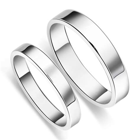 Simple S925 Sterling Silver Mens Ladies Couple Promise
