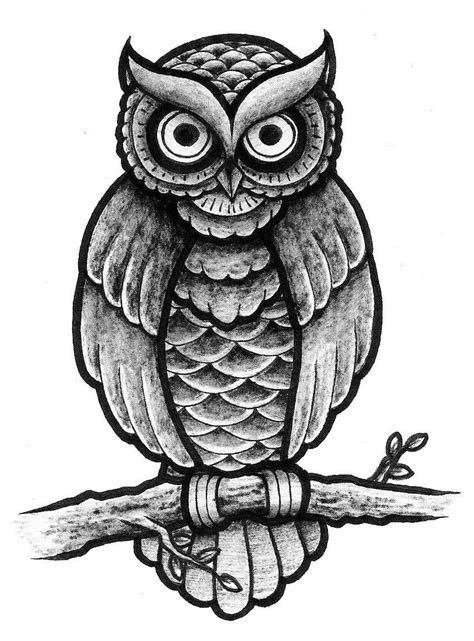 traditional owl design full shading by patsurikku on