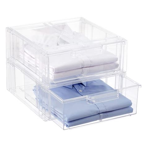 Clear Drawers by Clear Stackable Shirt Accessory Drawer The Container Store