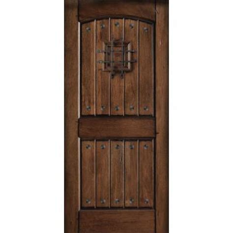 Solid Wood Exterior Door Slab 32 In X 80 In Rustic Mahogany Type Prefinished Distressed V Groove Solid Wood Speakeasy Front