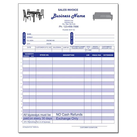 sales receipt template for furniture product details designsnprint