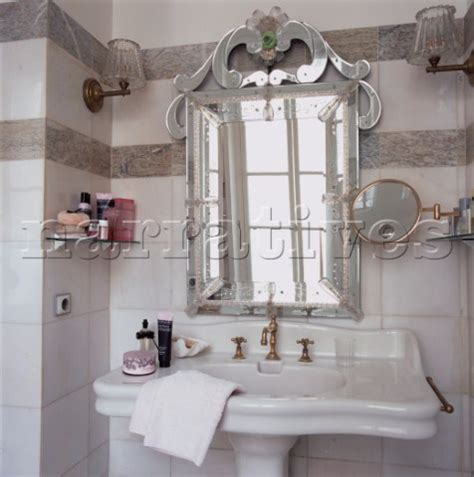 Jb130 15b Venetian Glass Mirror Over Hand Basin In Ele Venetian Bathroom Mirrors