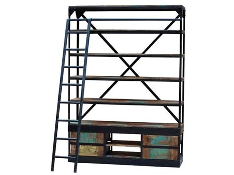 industrial bookcase with ladder industrial bookcase brown squirrel furniture