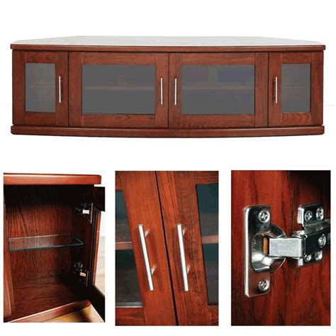 Wooden Tv Cabinet With Glass Doors Plateau Newport Series Corner Wood Tv Cabinet With Glass Doors For 42 62 Inch Screens Walnut