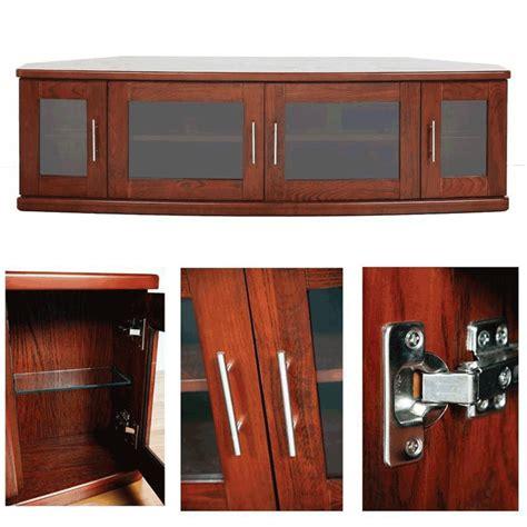 Corner Tv Cabinets With Doors Plateau Newport Series Corner Wood Tv Cabinet With Glass Doors For 42 62 Inch Screens Walnut