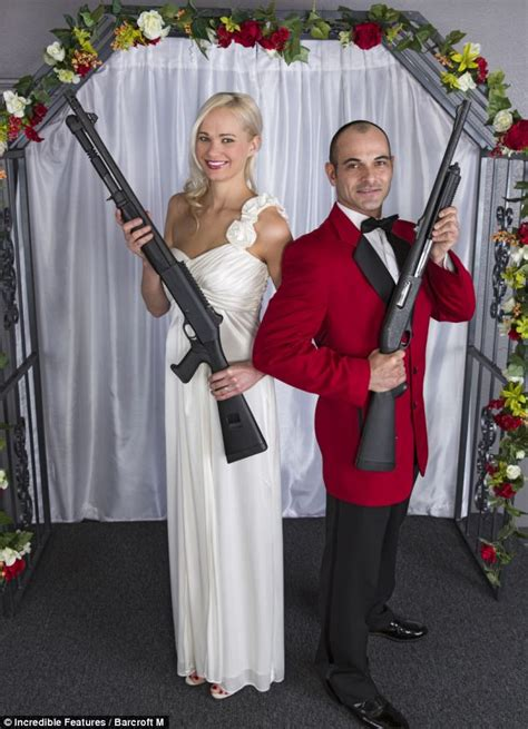 Shotgun wedding! Couples tie the knot in Las Vegas holding