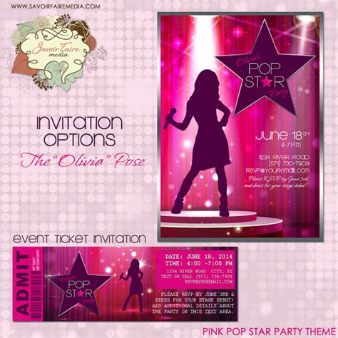 Printable Pop Star Party Invitations | pop star party invitation diy printable party invitation