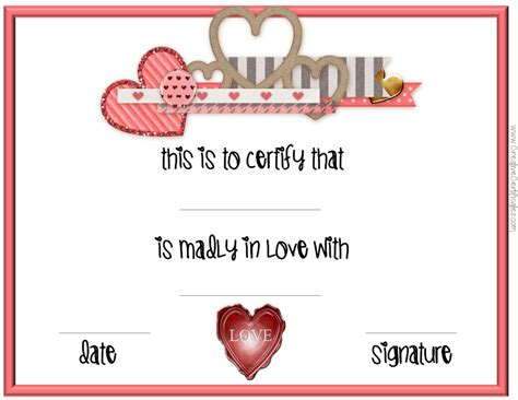 valentine s day certificates