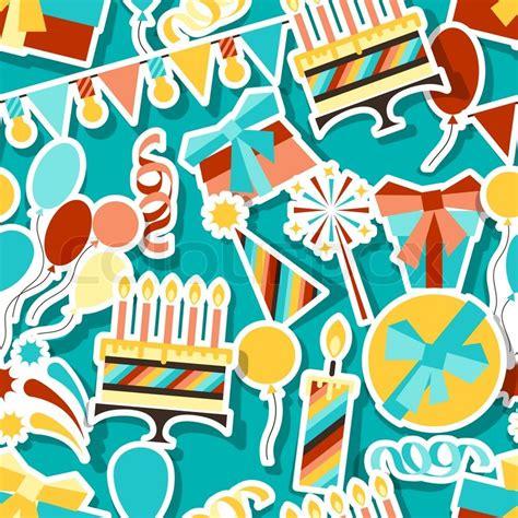 seamless pattern birthday happy birthday party seamless pattern stock vector