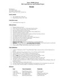 middle school student resume exle stacey middle