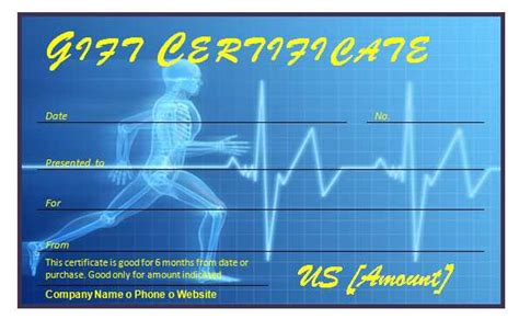 Fitness Gift Card Template by Free Fitness Gift Certificate Template